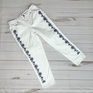 Style & Co White Embroidered Crop Jeans Size 10